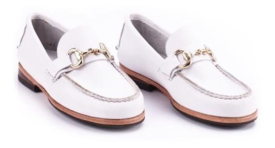 Zapato De Vestir Mocasín Niño Con Hebilla Cuero Blanco