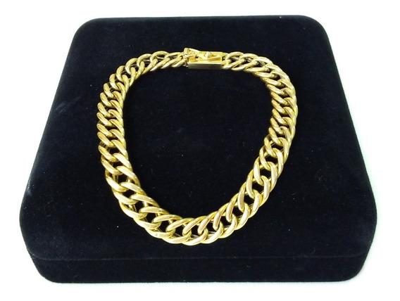 Linda Pulseira Groumet Dupla Ouro Amarelo 18k (750), Comprimento De 17,5 Cm, Certificado De Garantia E Nota Fiscal