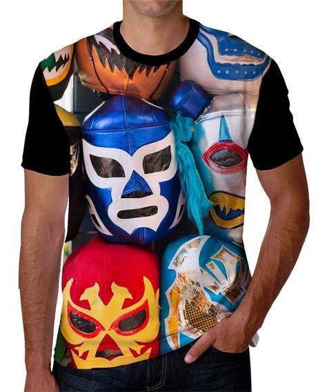 Playera Hombre Estampada De Mascaras De Lucha Libre Mexicana