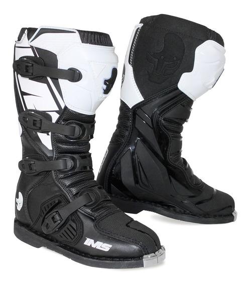 Bota Ims Mx1 Preta/branca Motocross Trilha Enduro Mod. 2020