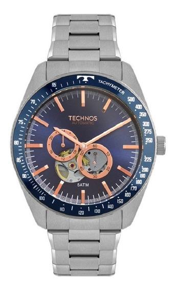 Relógio Technos Masculino Automático 82s7aa/1a Azul Rose