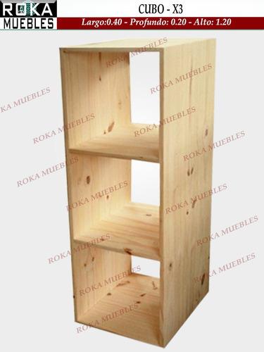 Cubo De Madera Biblioteca Pino 40x20x1.20 X 3 Espacios Roka