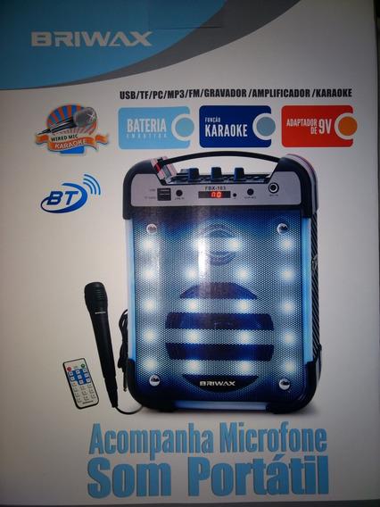 Caixa Amplificada Briwax Bluetooth Sd Osb Com Microfone