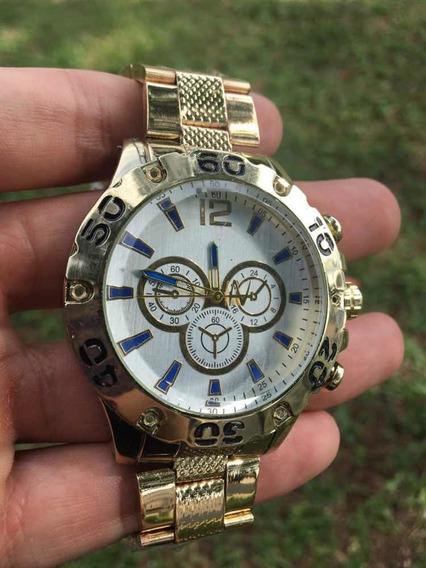 Relógio Masculino Dourado Grande Lindo Excelente Material