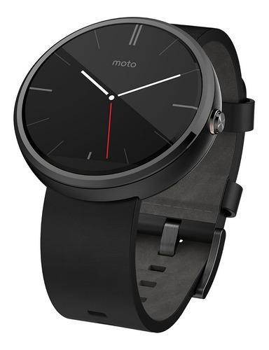 Motorola Moto 360 Smartwatch 46mm Cuero Black Negro 23mm