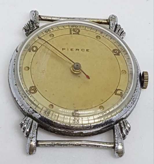 Relógio Pulso Vintage Pierce Cromado Anos 40 Caixa 33 Mm N E