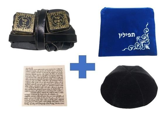Tefilin Sefaradi Kasher + Kipá + Klaf Mezuza + Frete Grátis