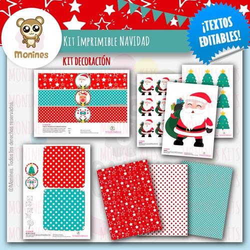 Kit Imprimible Navidad Santa  ¡textos Editables!