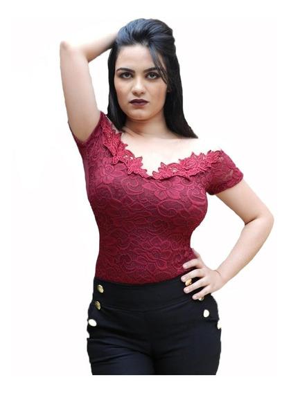 Body Feminino Bruna Marquezine Manga Curta Renda