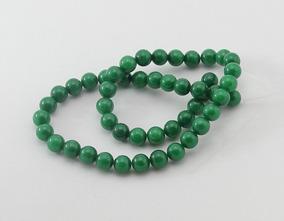 Jade Verde Musgo Bola Esfera Lisa 8mm Fio 40cm Teostone 1808