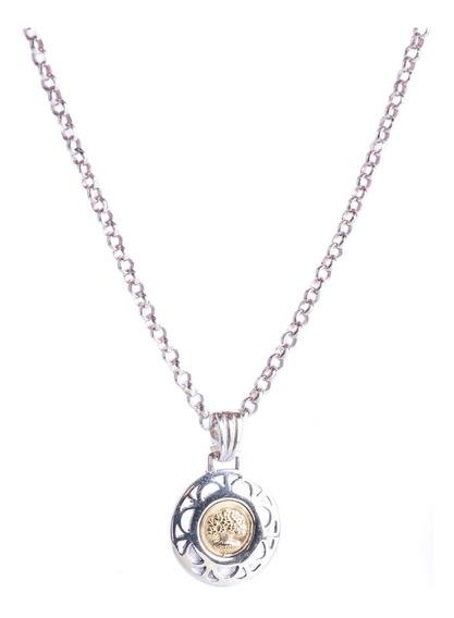 Conjunto De Cadena Rolito Con Medalla Del Arbol De La Vida