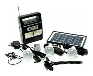 Kit Painel Placa Solar E Bateria 3 Bulbo Led + Radio Usb Mp3 Portatil Acampamento