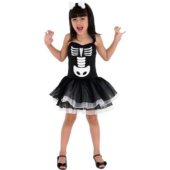 Roupa De Halloween Bruxa Esqueleto Infantil Completa +brinde