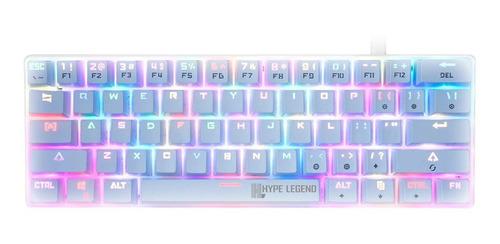 Teclado Hype Legend Rebel QWERTY Outemu Blue inglés US color blanco con luz RGB