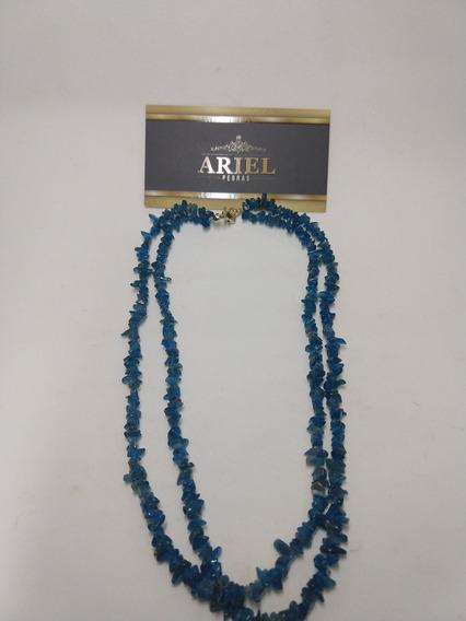 Colar Duplo De Pedra Natural , Azul Paraiba