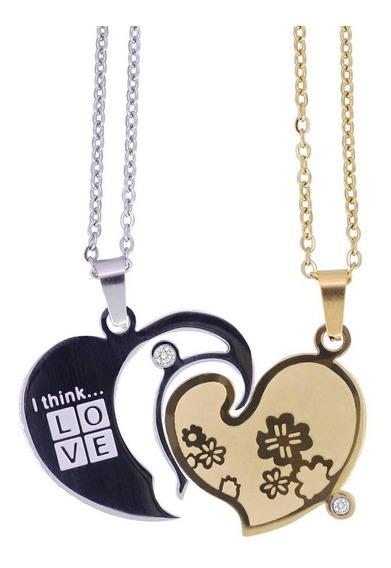 Cadena Collar Duo Pareja Corazón Acero Inoxidable Dijes