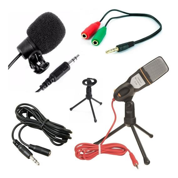 Kit Lapela + Microfone Mesa Profissional Celular Pc Youtuber