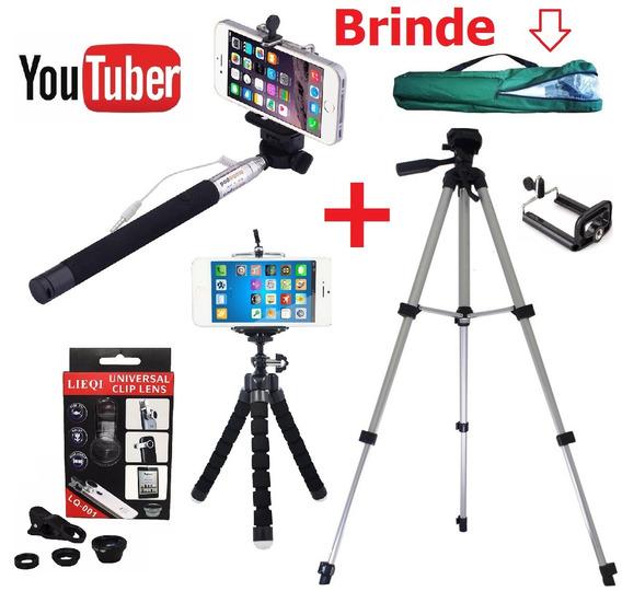 Kit Youtuber Tripé 1,20m Para Celular Câmera + Bastão Selfie
