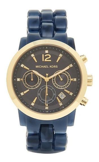 Relógio Michael Kors Mk6236 Audrina Orig Chron Gold Navy