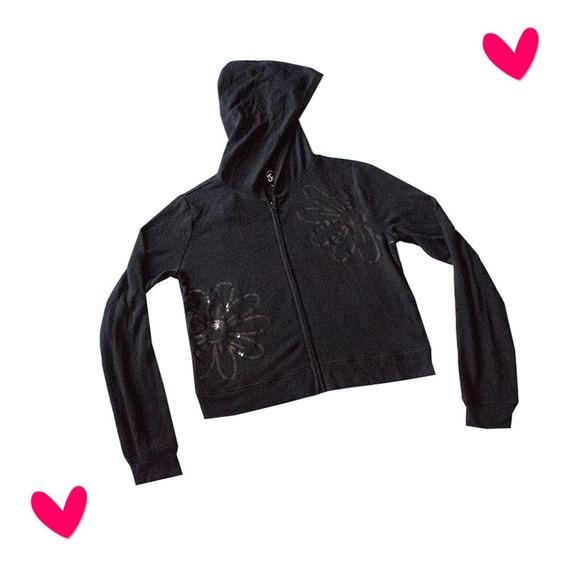 Sweater Negro Niña Justice Bordado Con Lentejuelas