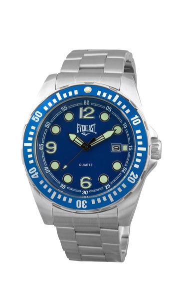 Relógio Pulso Everlast Masculino Aço Calendário Azul E474
