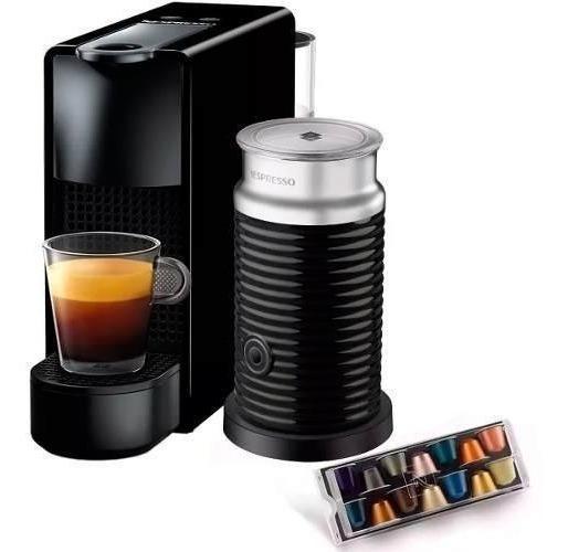 Cafetera Nespresso Essenza Mini Negra Capuchino Espumador Leche Eco Friendly