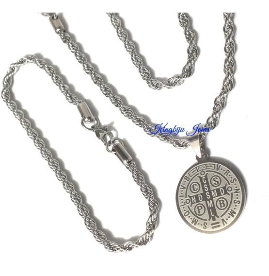 Medalha São Bento Dupla Face+ Cordão 70cm+ Pulseira Aço Inox