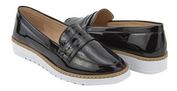 Zapatos Tipo Mocasín Dama Negro Brillante 020416 Mundo Terra