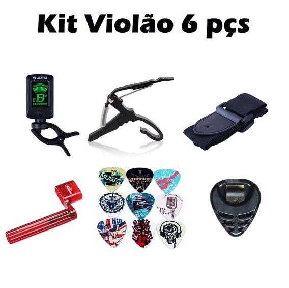 Palhetas Encordoador Afinador Capotraste Kit Violão 6pç