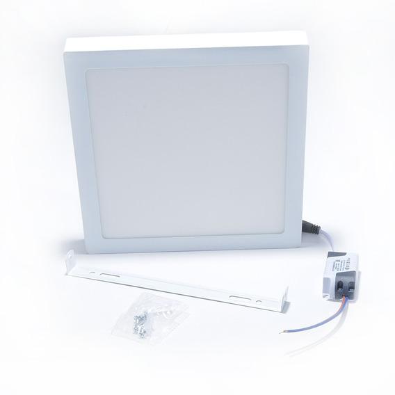 Plafon 12w Quadrado Sobrepor Luz Branco Frio 6500k Reator
