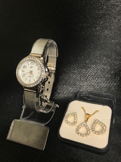 Relógio Feminino Prata + Brinde Conjunto Semijoia