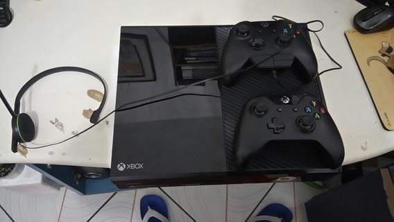 Xbox One 500 Gb Usado Com 2 Controles E 16 Jogos Fisicos