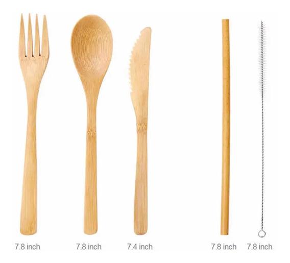 Set Cubiertos De Bamboo Ecológicos Bambú Reutilizables