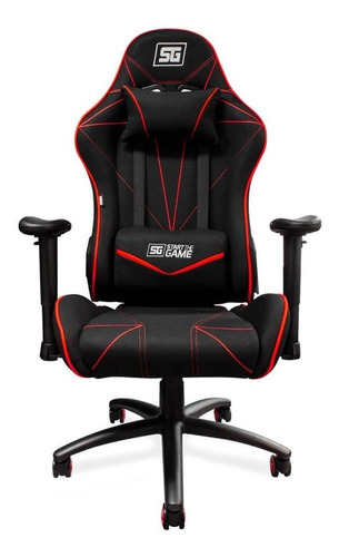 Imagen 1 de 4 de Silla de escritorio Vorago CGC-500 gamer ergonómica  negra y roja con tapizado de tela