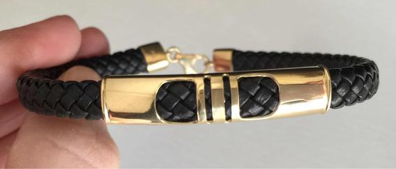 Pulseira Bracelete De Couro Com Placa E Fecho Ouro 18k.