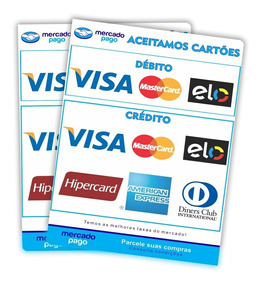2 Adesivo Cartão Crédito Débito Mercado Pago Visa Master Elo