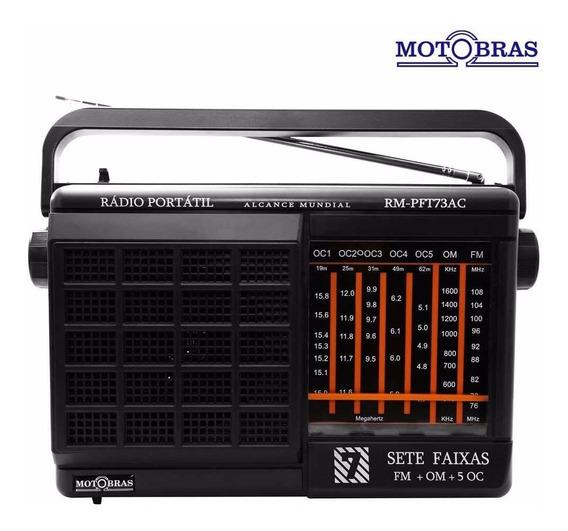 Rádio Portátil Motobras 7 Faixas Am/fm/oc Rm Pft73ac Bivolt