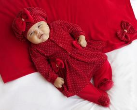 Kit Saída Maternidade Menina Inverno Vermelha Bolinha Branca