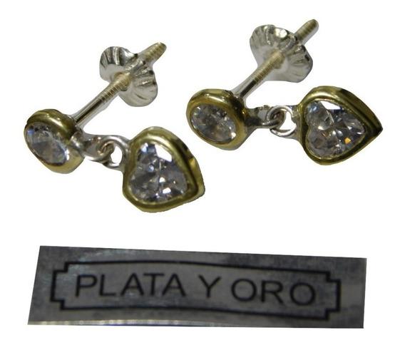 Aros Plata Y Oro Con Piedra Cúbic Colgante A Rosca