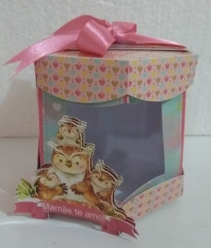 Imagem 1 de 3 de 10 Caixa Sextavada C/ Visor Personalizada - Dia Das Mães.