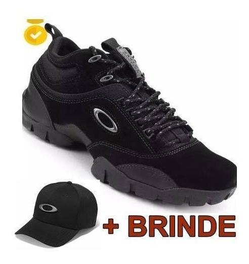 Tenis Oakley Modoc Preto Black Couro Envio 24h Boné Brinde