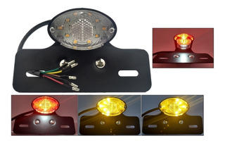 Lanterna Traseira Moto Custom Bobber 4 Funções Suporte Placa