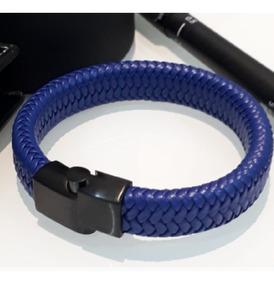 Bracelete Pulseira Aço Titânio Couro Legítimo Azul