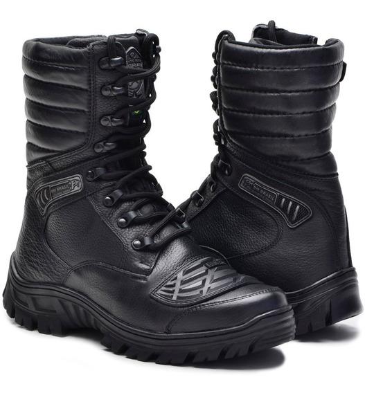 Tênis Coturno Tatico Militar Acolchoada Couro 5188 Ziper