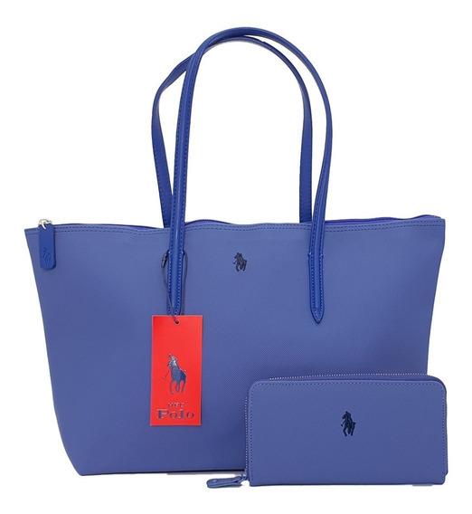 Bolsa Hpc Polo Tote Y Cartera Azul Plumbago