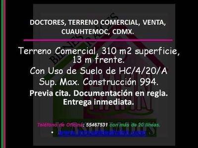 Doctores, Terreno Comercial, Venta, Cuauhtemoc, Cdmx.