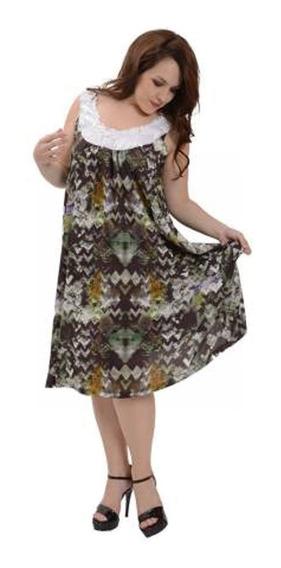Vestido Portofem De Seda Escote Lentejuelas - Talles Grandes