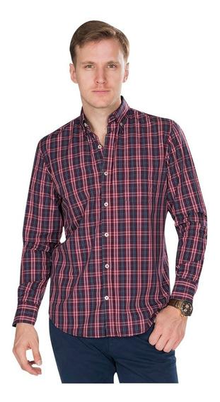 Camisas Hombre Casuales Regular Fit Cuadros Rojo Azul B85211
