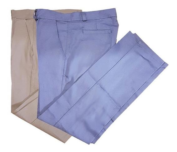 Pantalon De Trabajo Beige Azulino Fabrica Triple Costura