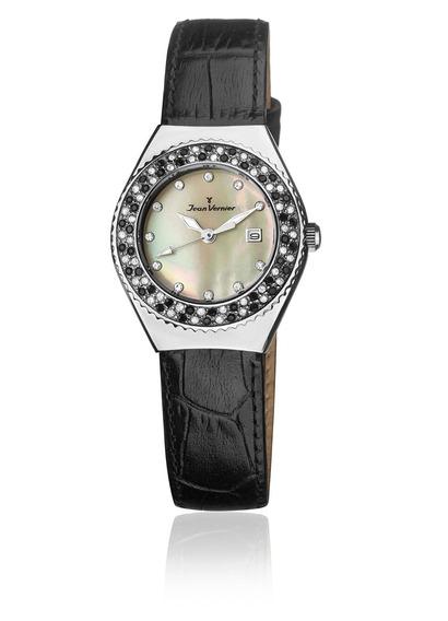 Relógio De Pulso Jean Vernier Jv10794 Feminino Preto+prata